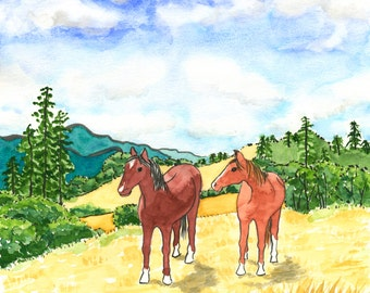 184. horses love and friendship card - choose any 6 designs