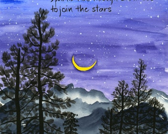 188. night sky and forest card - set of any 6 designs
