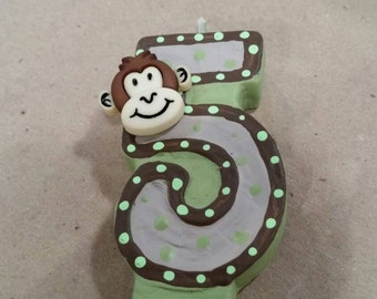 Monkey Painted Birthday Candle - party decor party candle cake topper monkey painted candle cake  candle birthday party party decor
