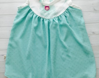 Baby Girl Cotton Jersey Dress in Mint Feathers and Mint Gold Dot Chiffon