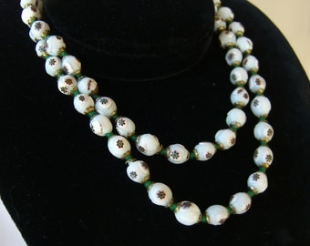 Vintage Millefiori Necklace, Murano Italy,  1930s Venetian Glass Millefiore Beads, White Background