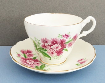 Royal Ascot pink flower tea cup and saucer set - Pink floral teacup and saucer - English tea set