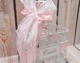 Small White Wedding BIrdcage Card Holder / Wedding Card Box / Wedding Shower / Bridal Shower / Baby Shower