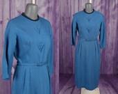 Vintage 50s Dress, Blue, Cotton, Belted, Sheath, Day, Secretary Dress, Louisa Alcott, M
