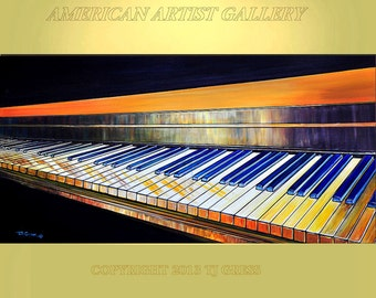 ORIGINAL PAINTING 24x60 Extra Large Acrylic Pop Art Piano Wall hangings  By Tom Gress