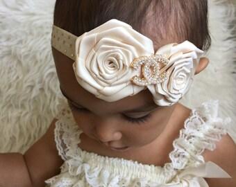Ivory and gold elastic headband satin rosette and  rhinestone,girl headband.
