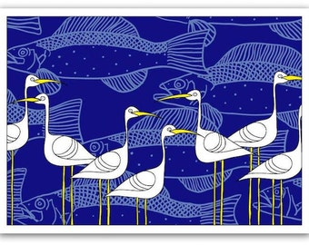 Blank Card with Envelope – Ibis and Fish