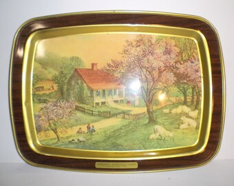 Currier and Ives Serving Trays Set of 2
