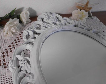 Large White Mirror Ornate Oval Rustic Shabby Chic Distressed Beach Cottage Coastal Seaside French Country Vanity Bedroom Home Decor Gift Her