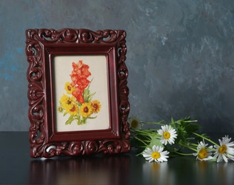 """Vintage Frame with Floral Print by Benton Glass Small 7.5"""" 6"""""""