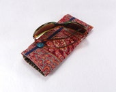 Lovely Crimson and Blue Paisley Upcycled Glasses and Sunglasses Case with Button Accent
