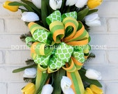 Yellow & White Tulip Door/Wall Swag Wreath