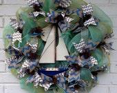Aqua/Gold Oceanic Mesh Wreath (Father's Day)