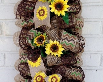 Summer/Fall Sunflower Door Wall Jute Burlap Mesh Swag Wreath
