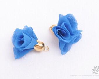 T011-G-BU// Gold Plated Cap Blue Fabric 20mm Tassel, 2 pcs