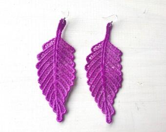 Neon Purple Leaf Lace Earrings