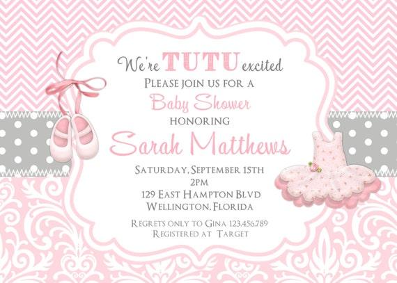 Tutu Cute Baby Shower Invitation - Ballerina Pink Chevron Damask and Gray Dots Printable Invite