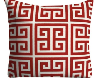 Outdoor Pillows, Greek Key Pillows, Outdoor Throw Pillows, Red Patio Pillows,Red Pool Pillows, Pillow Covers, Red Deck Porch Pillows