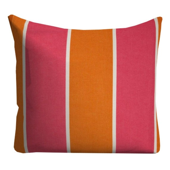 Hot Pink Outdoor Throw Pillows : Items similar to Hot Pink Orange stripe Outdoor Pillows, Outdoor Throw Pillows, Pink Orange ...