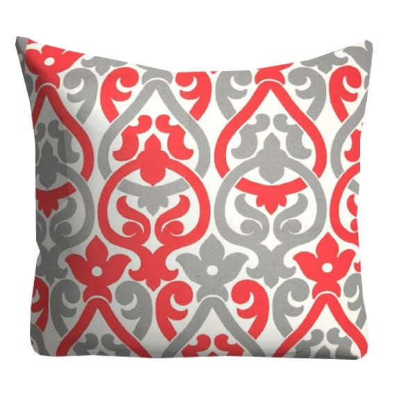 Throw Pillows Girly : Items similar to Red Grey Outdoor Pillows, Outdoor Throw Pillows,Coral Patio Pillows, Pool ...