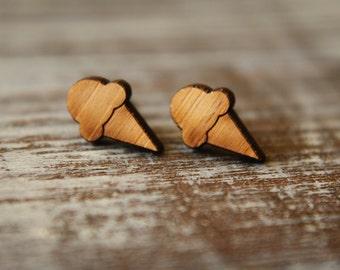 Tiny Ice Cream Cone Studs, Laser Cut Wood Earrings