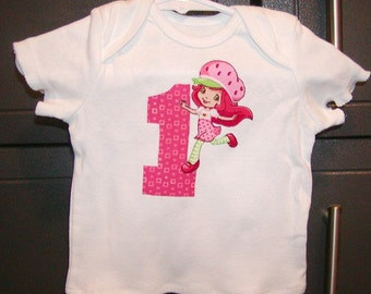 Girls Applique top...Strawberry Shortcake #1...0-24 months and 2T to 10 Girls