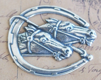 Brass Racing horses in horseshoe, Sterling Silver Finish- Steampunk  Supplies by CalliopesAttic