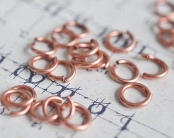 24 gauge Brass Jump Rings, X100, Rose Ox