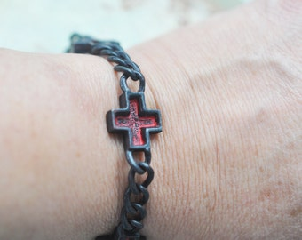 Simple Cross Bracelet Pewter Casting, Wicked Sassy Patina