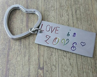 Love is love hand stamped lgbt support marriage equality key chain made from aluminum and stainless steel by miss ashley jewelry