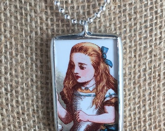 Alice in Wonderland, Caterpillar and Alice Reversible Vintage Art Silver Soldered Glass Pendant Charm Necklace