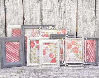 Shabby Chic Antique White and Gray Frame Collection, 9 Upcycled Photo Frames, Wedding Decor Frames