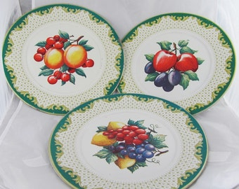 Vintage Tin Floral Plates kitchen Décor Shabby Chic Bold Graphics of Fruit