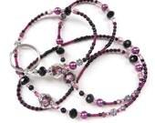 BLACK ROSE- Beaded ID Lanyard Badge Holder- Lampwork Focal Beads, Pearls, Tibetan Silver Beads, & Sparkling Crystals (Comfort Created)