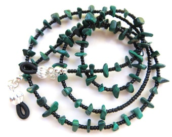 MALACHITE- Beaded Eyeglass Lanyard- Malachite Chip Beads and Black Seed Beads