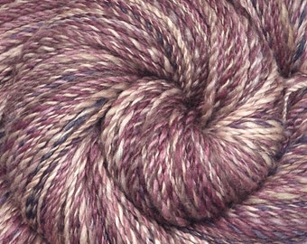 Hand spun yarn - Hand painted Silk / BFL wool, DK weight - In the Shadow of Angels - 320 yards