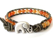 Elephant bracelet with natural carnelian in shades of burnt orange to red, multi tonal carnelian beads, bracelet gift for women