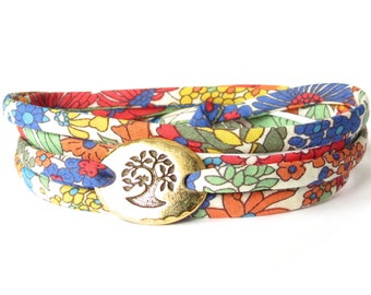 Confirmation gift for girls, Liberty fabric bracelet in primary colours, meaningful gift for best friend