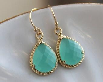 Pacific Aqua Mint Earrings Gold Blue Earrings Bridesmaid Earrings Wedding Earrings Mint Bridesmaid Jewelry Gift Wedding Jewelry
