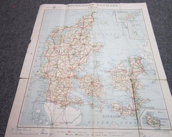 Vintage Danmark Map Very Collectable
