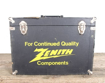 Vintage Zenith Electronic Tubes Tool Box / Antique Wood ToolBox / Components TV Tubes / Radio Tube Box / Electronic Decor Service Repair Box