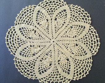 Crocheted Doily - Maize Yellow - 11 inch Diameter Crocus Doily