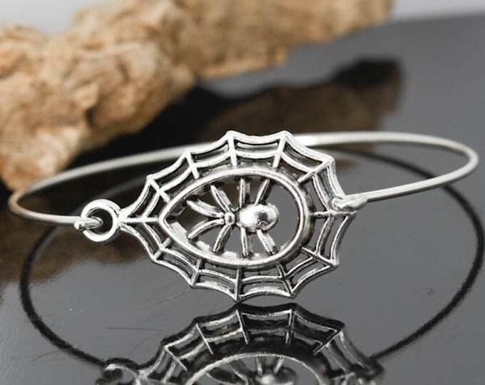 Spider Web Bangle, Sterling Silver Bangle, Spider Web Bracelet, Stackable Bangle, Bridesmaid Bangle, Bridesmaid jewelry, Bridal Bracelet