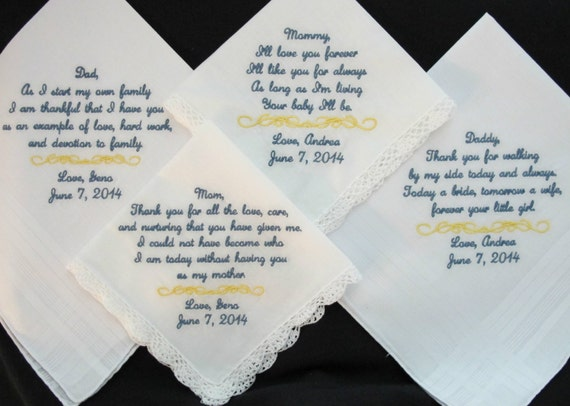 Wedding Handkerchiefs embroidered for the Mother of the Bride, Father of the Bride, Mother of the Groom and Father of the Groom