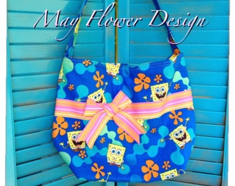 Sponge Bob Handmade Bag / Blue and Yellow Sponge Bob Shoulder Bag
