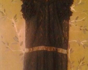80s Gunne Sax black lace dress
