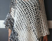 White Grey Silver Black Poncho Crochet Wrap Shawl Kissed By An Angel Unique One of a Kind Accessory