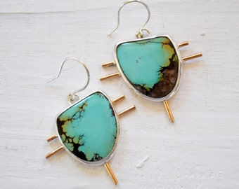 Modern Native Turquoise Earrings, Turquoise Jewelry, One of a Kind Gemstone Earrings, Silver Statement Earrings