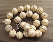Vintage Plastic Ivory w/ Brown Beads 13x14mm Imitation Bone (24)