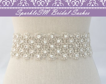 Wide Crystal Belt, Bridal Sash, Statement Sash, Bridal Belt, Jeweled Bridal Belt, Bridal Dress Sash, Crystal Bridal Sash, Rhinestone Sash